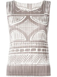 Issey Miyake Pleats Please By 'Mosaic' Print Tank Nude And Neutrals