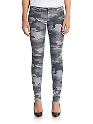 Current Elliott Camouflage Print Skinny Ankle Jeans Black Camo
