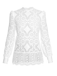 Hillier Bartley High Neck Lace Blouse White