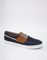 Pull Bear Pull Bear Trainers In Boat Style Navy