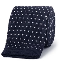 Canali Knitted Wool Tie Blue