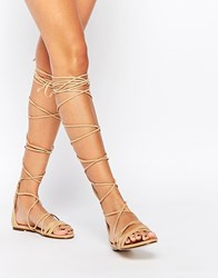 Daisy Street Lace Up Gladiator Flat Sandals Nude