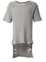 Miharayasuhiro Distressed Knit T Shirt Grey