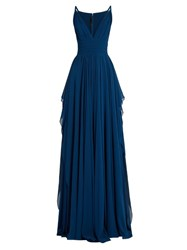 Elie Saab Plunging V Neck Sleeveless Silk Georgette Gown Blue