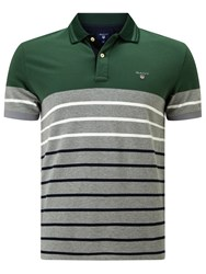 Gant Dropped Stripe Rugby Shirt Pine Green