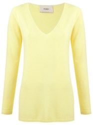 Egrey V Neck Knit Blouse Yellow And Orange