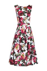 Jolie Moi Floral Print Pleated 50S Dress Pink