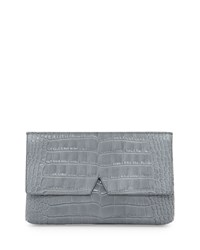 Crocodile Embossed Medium Clutch Bag Chambray Vince
