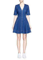 Stella Mccartney 'Lucette' Zip Front Flare Denim Dress Blue