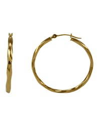Lord And Taylor 14 Kt. Yellow Gold Twist Hoop Earrings