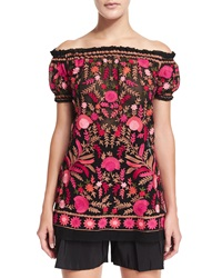 Naeem Khan Off The Shoulder Embroidered Peasant Blouse Red Black Multi Red Black Multi