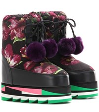 Dolce And Gabbana Floral Printed Platform Boot With Fur Black