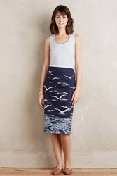 Maeve Gilded Sky Pencil Skirt Blue Motif