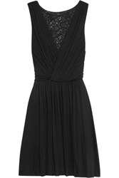 Bailey 44 Lace Paneled Stretch Jersey Mini Dress Black