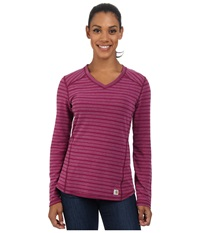 Carhartt Force Long Sleeve V Neck Striped T Shirt Magenta Heather Stripe Women's T Shirt Pink