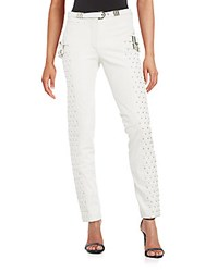 Versace Studded Leather Pants White
