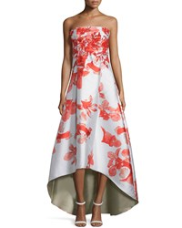 Sachin And Babi Noir Floral Print Sleeveless Midi Dress W High Low Hem Coral Trppnk