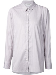 Lemaire Striped Shirt Brown