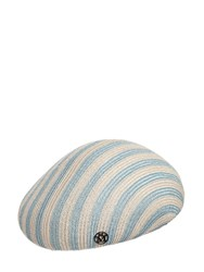 Maison Michel Bonnie Striped Straw Hat