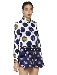 Kenzo Polka Dot Light Cotton Pique Shirt White Navy