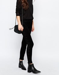 Only Royal Super Skinny Jeans With Lace Up Sides Black