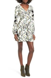 Wayf Women's 'Hendrix' Print Shift Dress Ivory Geo