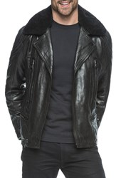 Andrew Marc New York Men's Gustavus Leather Jacket With Genuine Fur Collar