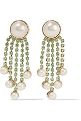 Valentino Gold Plated Faux Pearl And Crystal Earrings