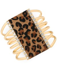 Guess Gold Tone Crystal Faux Leopard Charm Cuff Bracelet