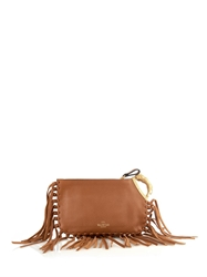 Valentino Lion Handle Fringed Leather Clutch