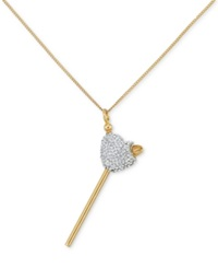 Sis By Simone I Smith Sis By Simone I. Smith Clear Crystal Heart Lollipop Small Pendant Necklace In 18K Gold Over Sterling Silver Yellow Gold