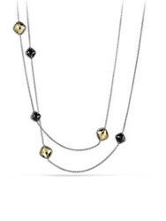 David Yurman Cushion Chatelaine Necklace With Black Onyx And Gold Silver Gold