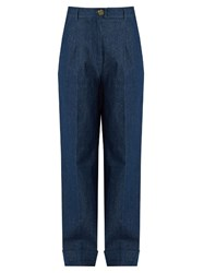 Trademark High Rise Wide Leg Jeans Dark Blue
