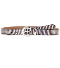 Fausto Colato Striped Snakeskin Belt Blue