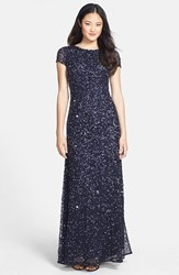 Adrianna Papell Women's Short Sleeve Sequin Mesh Gown Navy Gunmetal