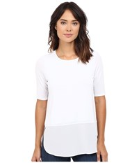 Heather Silk Round Hem 3 4 Sleeve Top White Women's Clothing