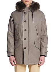 Giorgio Armani Caban Fur Trimmed Cashmere Blend Coat Metal