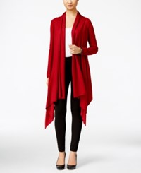 Cable And Gauge Multi Wrap Open Front Cardigan Scarlet Sage