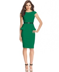 Xoxo Juniors' Cap Sleeve Peplum Sheath Dress Emerald