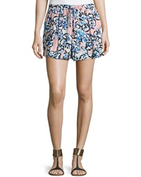 Romeo And Juliet Couture Floral Print Pleated Shorts Pink Blue