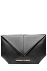 Roland Mouret Leather Envelope Clutch Black