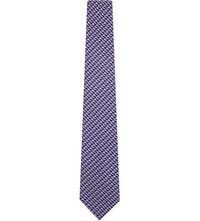Duchamp Geometric Silk Tie Purple