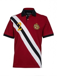 Raging Bull Big And Tall Diagonal Stripe Polo Shirt Red