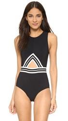 Karla Colletto Parallel High Neck Tank Swimsuit Black