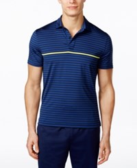 Tommy Hilfiger Men's Athletic Striped Polo Shirt Navy Blazer Diamond Blue