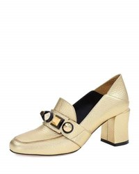 Fendi Studded Metallic Mid Heel Loafer Pump Gold
