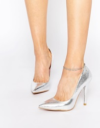 Forever Unique Gogo Metallic Court Shoes Silver