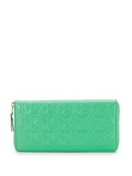 Comme Des Garcons Star Embossed Leather Continental Zip Around Wallet Green