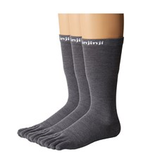 Injinji Liner Crew Nuwool 3 Pack Charcoal Crew Cut Socks Shoes Gray