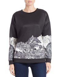 Kensie Graphic Print Sweatshirt Black